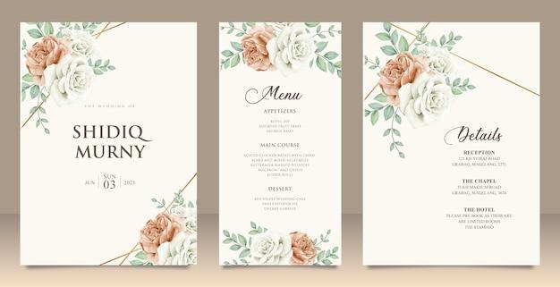 Set bruiloft uitnodiging floral menu details kaart ontwerp
