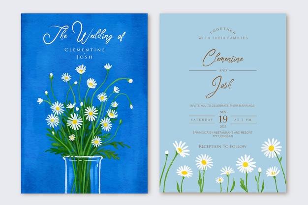 Set bruiloft uitnodiging handgetekende madeliefjes bloemenvaas achtergrond sjabloon