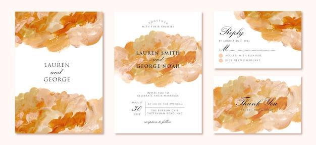 Set bruiloft uitnodiging met abstracte schilderkunst