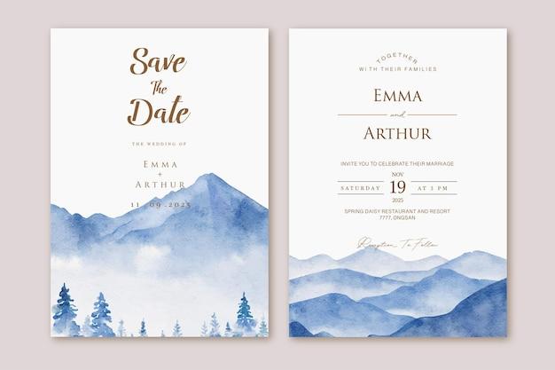 Set bruiloft uitnodiging met aquarel aquarelle blauwe landschap berg
