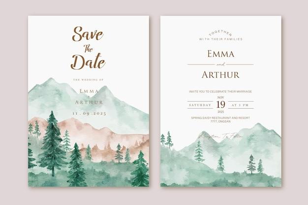 Set bruiloft uitnodiging met aquarel berglandschap achtergrond