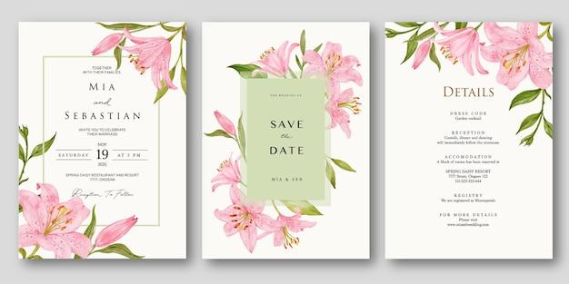 Set bruiloft uitnodiging met aquarel roze lelie Premium Vector