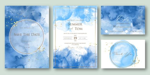 Set bruiloft uitnodiging met blauwe abstracte aquarel stijl
