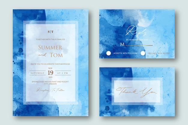 Set bruiloft uitnodiging met blauwe aquarel