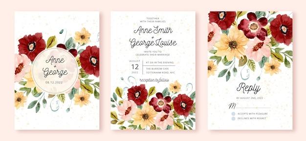 Set bruiloft uitnodiging met bloementuin aquarel