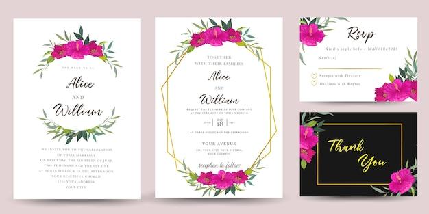 Set bruiloft uitnodiging met hibiscus bloemen