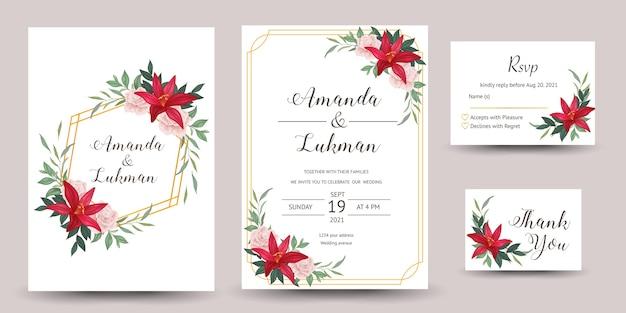 Set bruiloft uitnodiging met lelie bloemen