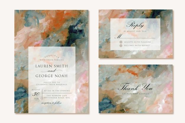 Set bruiloft uitnodiging met moderne schilderkunst