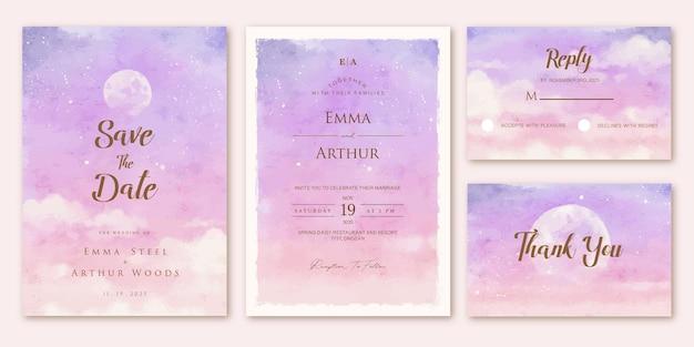 Set bruiloft uitnodiging met roze paarse lucht aquarelle