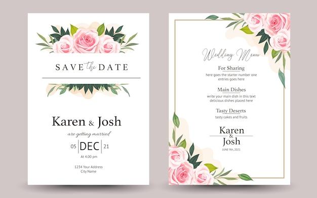 Set bruiloft uitnodiging met rozen bloemen