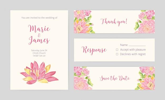 Set bruiloft uitnodiging, save the date-kaart, reactie en bedankje sjablonen