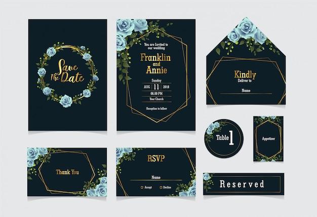 Set bruiloft uitnodiging sjabloon