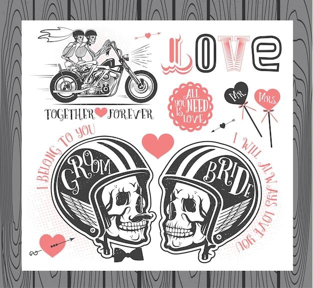 Set bruiloft uitnodiging vintage elementen vector illustratie met schedels van bruid en bruidegom