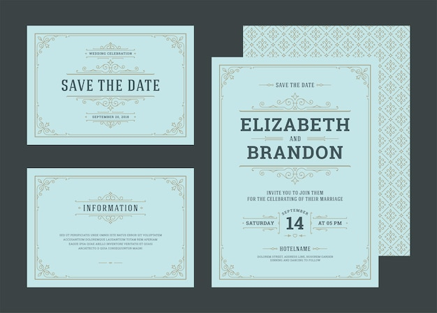 Set bruiloft uitnodigingen bloeit ornamenten kaarten