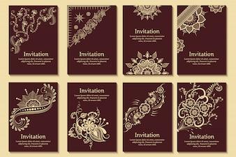 Set bruiloft uitnodigingen en aankondiging kaarten met sieraad in Arabische stijl. Arabesk patroon.