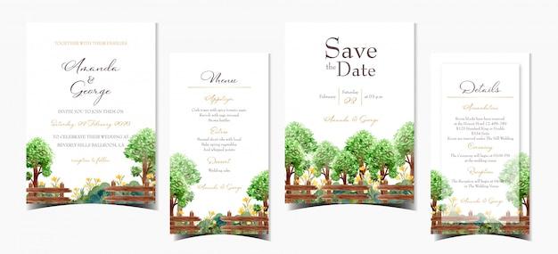 Set bruiloft uitnodigingskaart met zomer bomen en bloemen