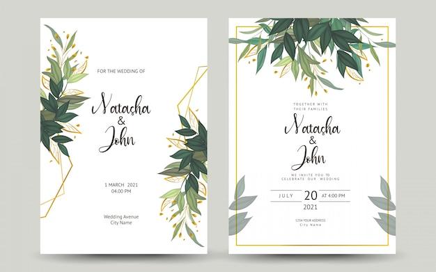 Set bruiloft uitnodigingskaart