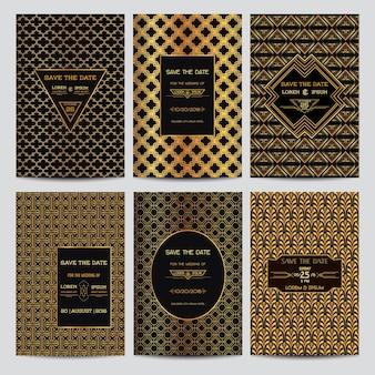 Set bruiloft uitnodigingskaarten - bewaar deze datum - art deco vintage stijl