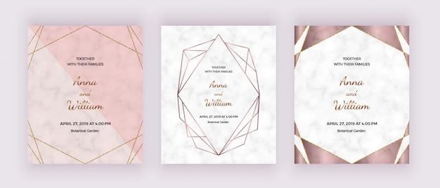 Set bruiloft uitnodigingskaarten sjabloon
