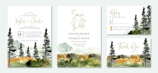 Set bruiloft uitnodigingssuite met wilde natuur
