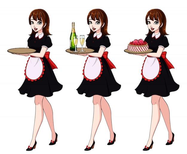 Set bruinharige serveersters houden champagne en cake, dragen zwarte meid kostuum