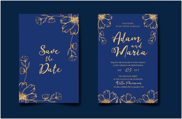 Set bundel bruiloft uitnodigingskaart met gouden blad bloemen bloem