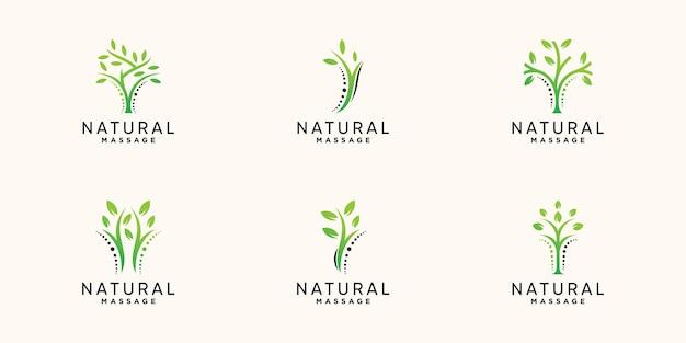 Set bundel chiropractie en natuurlijke massage-logo met creatief modern concept premium vector