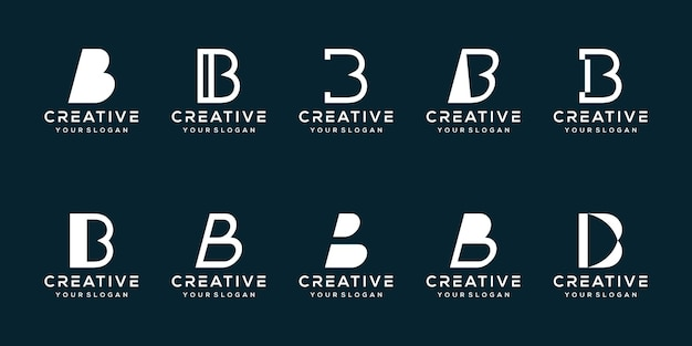Set bundel letter b logo sjabloon