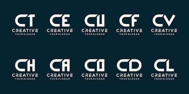 Set bundel letter c logo sjabloon