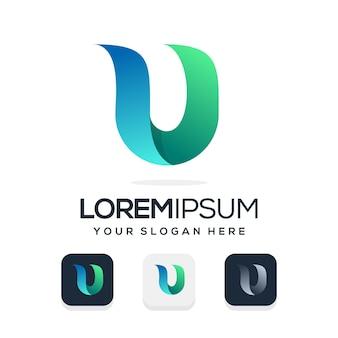 Set bundel letter u logo ontwerp