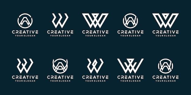 Set bundel letter w logo ontwerp