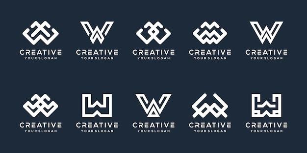 Set bundel letter w logo sjabloon