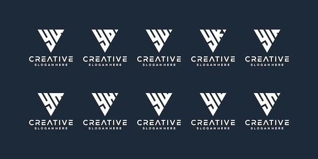 Set bundel letter y logo-ontwerp