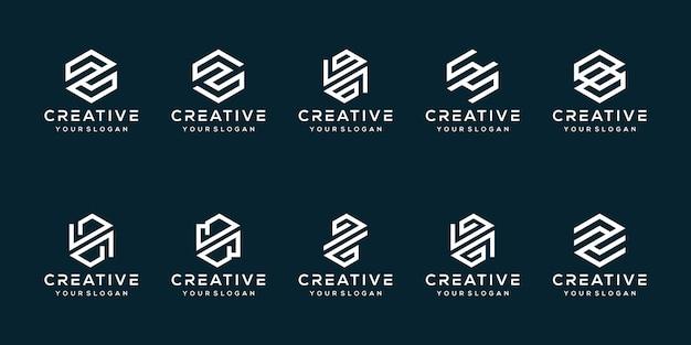 Set bundel letter z logo ontwerp