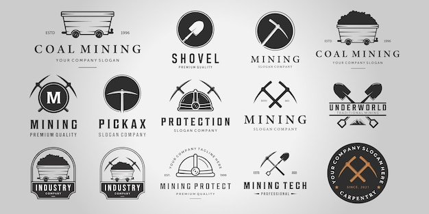 Set bundel mijnbouw vintage lijn kunst logo, illustratie mijn kar houweel helm schop vector design