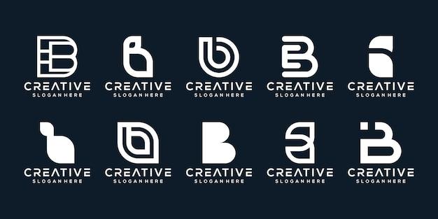 Set bundel moderne letter b logo sjabloon