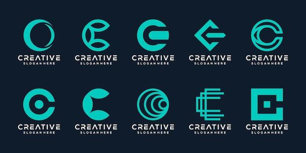 Set bundel monogram letter c logo sjabloon