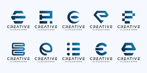 Set bundel monogram letter e logo sjabloon