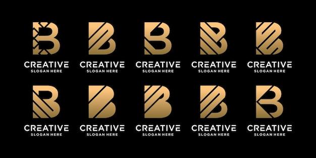 Set bundel monogram logo ontwerp eerste letter b met uniek concept premium vector