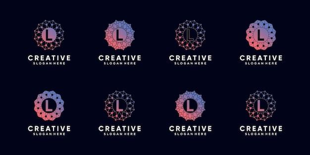 Set bundel monogram logo ontwerp technologie beginletter l met lijntekeningen en dot stijl. premium vector