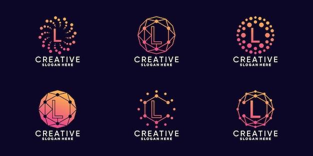 Set bundel monogram logo ontwerp technologie beginletter l met lineaire en puntstijl premium vector