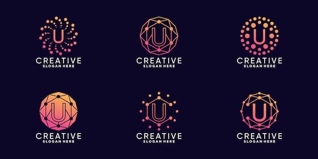 Set bundel monogram logo ontwerp technologie beginletter u met lineaire en puntstijl premium vector