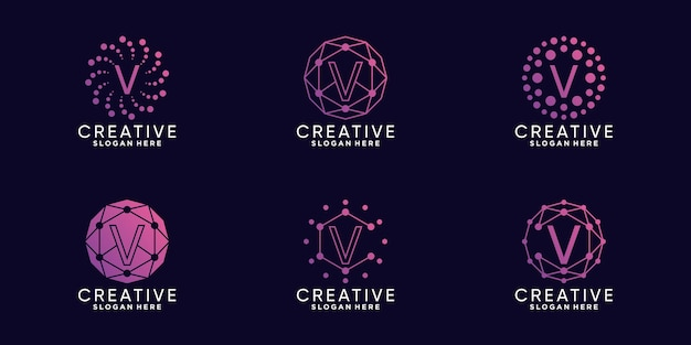 Set bundel monogram logo ontwerp technologie beginletter v met lineaire en puntstijl premium vector