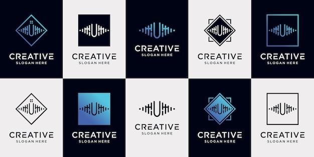 Set bundel muziek logo ontwerp collectie beginletter u met uniek concept premium vector