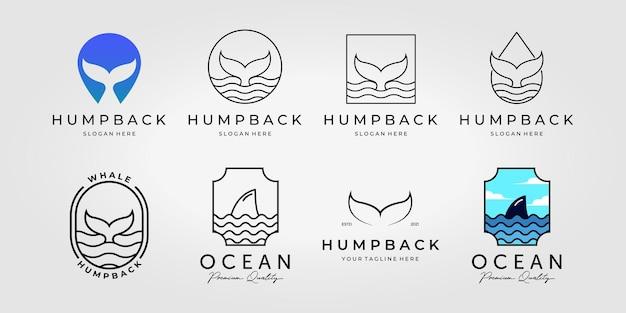Set bundel van bultrug staart logo vector, pack ontwerp illustratie van nautische natuur concept