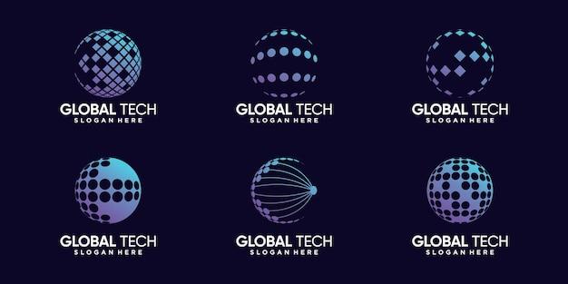 Set bundel van wereldwijd logo-ontwerp voor datatechnologie met modern concept premium vector