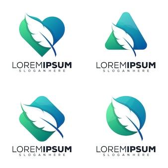 Set bundel veer logo ontwerp