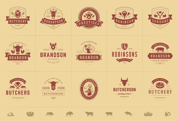 Set butchershop-logo's