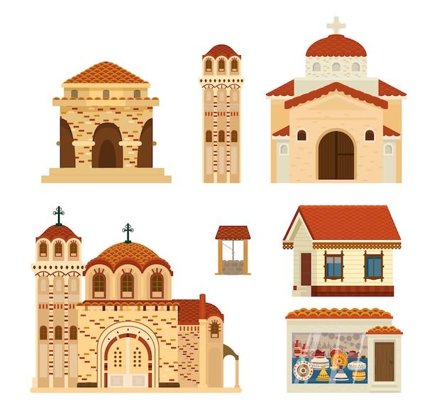 Set byzantijnse gebouwen. oude architectuur.