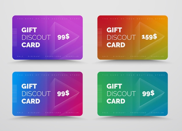 Set cadeau- of kortingskaarten met zachte kleurovergangen.